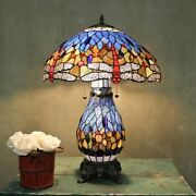 Style Stained Glass Table Lamp Blue Dragonfly Desk Lamps Accent Light