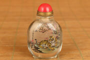 Natural Crystal Painting Tiger Snuff Bottle Collectable