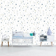Stars And Moon Kids Wallpaper Removable Peel And Stick Space Wall Mural Ns50