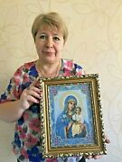 Blessed Virgin Mary Pray Icon Completed Cross Stitch Our Lady Fadeless Blossom