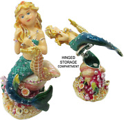 Mermaid Jeweled Trinket Box With Crystals, By Rucinni, Blue
