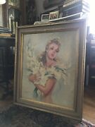 Jean Gabriel Domergue Women With Flowers Original And Signed