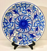 Charlotte Rhead A.g. Richardson Crown Ducal Blue Peony Charger 4016 C. 1930s