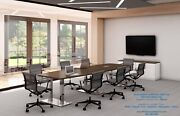 14 Ft Foot Modern Conference Table With Metal Legs Grommets For Power 8 Colors