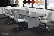 16 Ft Foot Modern Conference Table With Grommets For Power Gray White 8 Colors