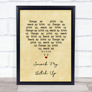Smack My Bitch Up Vintage Heart Song Lyric Music Gift Present Poster Print