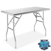 Stainless Steel Folding Commercial Kitchen Prep And Work Table - 48 X 24 In.