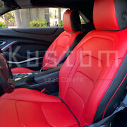 For 16-up Camaro Coupe   Custom Fit Red And Black Interior Leather Seat Covers