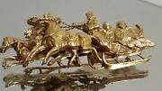 56 14k Antique Russian Imperial Yellow Gold Pin Sleigh Troika 25gr