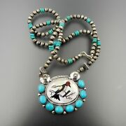 Handcrafted Sterling Silver Zuni Inlay Bird Turquoise Cluster Beaded Necklace