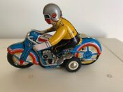 Vintage Reproduction Tin Toy Motorcycle Sidecar Wind Up Works Harley Indian