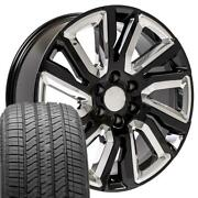 22x9 Wheels And Tires Fit High Country Black W/chrome Inserts Rim Cv39 W1x Set