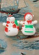 Vintage 1950's Mr And Mrs Snowman Salt And Pepper Shakers