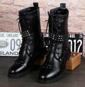 Punk Mens Leather Lace Up Flat Mid Calf Boot Rivet Casual Pumps Military Shoes