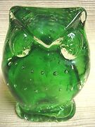 Vintage Lefton Japan Green Bubble Glass Owl Paperweight