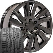 22x9 Wheels And Tires Set Fit Gm Chevy Satin Black W/gloss High Country Cv39 W1x