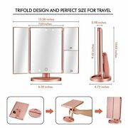 Makeup Vanity Mirrors Tri-fold Cosmetic W/ Built In Led Lights - Rose Gold