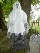 Lifesize Animated Ghostly Child On Tombstone Halloween Prop - Talks Moves Lights
