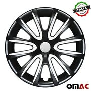 16 Inch Hubcaps Wheel Rim Cover Glossy Black With White Insert 4pcs Set