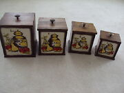 Vintage Sears Wood-wooden 4 Canister Set Apple Pear Sears Plastic Inserts 1970s