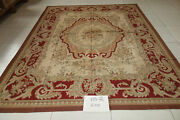 8and039x10and039 Antique Old Dark Red Beige French Country Home Decor Wool Aubusson Carpet