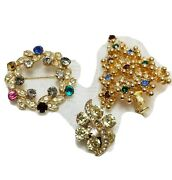 Vintage 3pc As Is Eisenberg Jewelry Lot Christmas Tree Wreath Brooch And 1 Earring