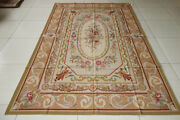 Antique Tan Classic French Wool Aubusson Rug Swirls Rose Garland Floral