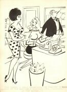 Secretaries And Bossand039s Son Gag - 1964 Humorama Art By Michael Berry