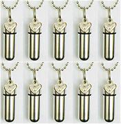 Large Set Of Ten Open Heart Anointing Oil Holder Necklaces With Velvet Pouches