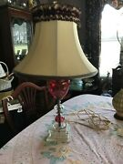 Antique Ruby Glass Etched Lamp With Frilly Original Lampshade40's / 50's