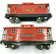 Lionel Lines 817 Lot Of 2 Red Cabooses 1 Nickel Trim 1 Brass Trim Htf Free Ship