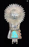 Vintage H. Boyd Indian Navajo Sunface Kachina Sterling Silver Turquoise Coral