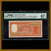 India 20 Rupees 1972 P-61a Pmg 67 Epq Incorrect Kashmiri First Issue Unc