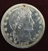 1907 Barber Silver Quarter Proof Free S/h