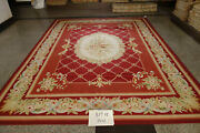 9and039x12and039 Stunning Burgandy Victorian Blooming Rose French Royal Decor Aubusson Rug