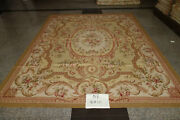 Antique Old Victorian Pink Rose French Brown Swirls Pastel Green Aubusson Rug