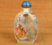 Rare Old Glass People Painting Pictures Dr Buddha Statue Snuff Bottle Gift