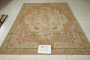 Antique Hand Woven Wool Aubusson Rug Colorful French Swirls Roses Shabby