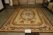 9and039 X 12and039antique Brown Scrolls Floral French Country Vintage Aubusson Wool Carpet