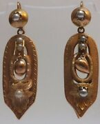 Victorian 15ct Gold Antique Pearl Earrings