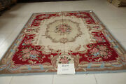 Stunning Royal French Castle Beige Red Floral Brown Swirls Wool Aubusson Rug