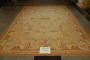 9' X 12' Antique Old French Swirls Country Pink Rose Aubusson Wool Carpet Floral