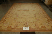 9and039 X 12and039 Antique Old French Swirls Country Pink Rose Aubusson Wool Carpet Floral
