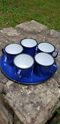 Blue Enamel Ware Mugs 5 Cups And Tray Camping Farm House Rv