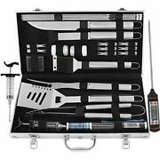 24pc Bbq Grill Tool Set, Heavy Duty Stainless Steel Accessories Thermometer - On