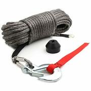 50and39x3/16andrdquo Synthetic Winch Rope Kit W/snap Hook Rubber Stopper For