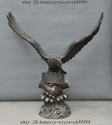 Lucky China Bronze Fengshui Decoration Honesty Win Together Eagle Hawk Sculpture
