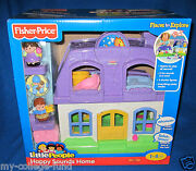 Fisher Price Little People Happy Sounds Home Purple With Mom Dad And Baby New