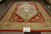 French Royal Country Decor Gold Burgandy Aubusson Wool Carpet Hand Woven