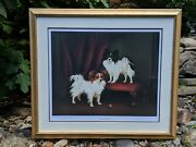 Diana Howorth Signed Le 91/800 Two Papillon Continental Toy Spaniel Dogs Framed